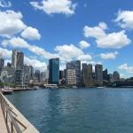 Blick von der Oper auf den CBD, den Central Business District, oder Downtown Sydney.
